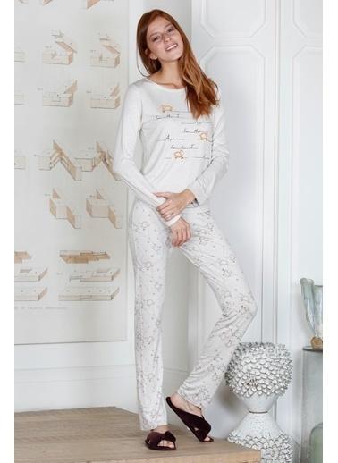 Hays Rebel Kadın Kuzu Baskılı 2Li Uzun Pijama Takımı Bej